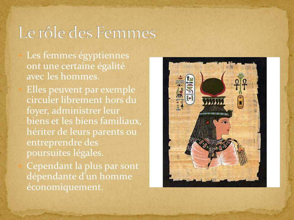 Le rôle des Femmes Les femmes égyptiennes ont une certaine égalité avec les hommes.