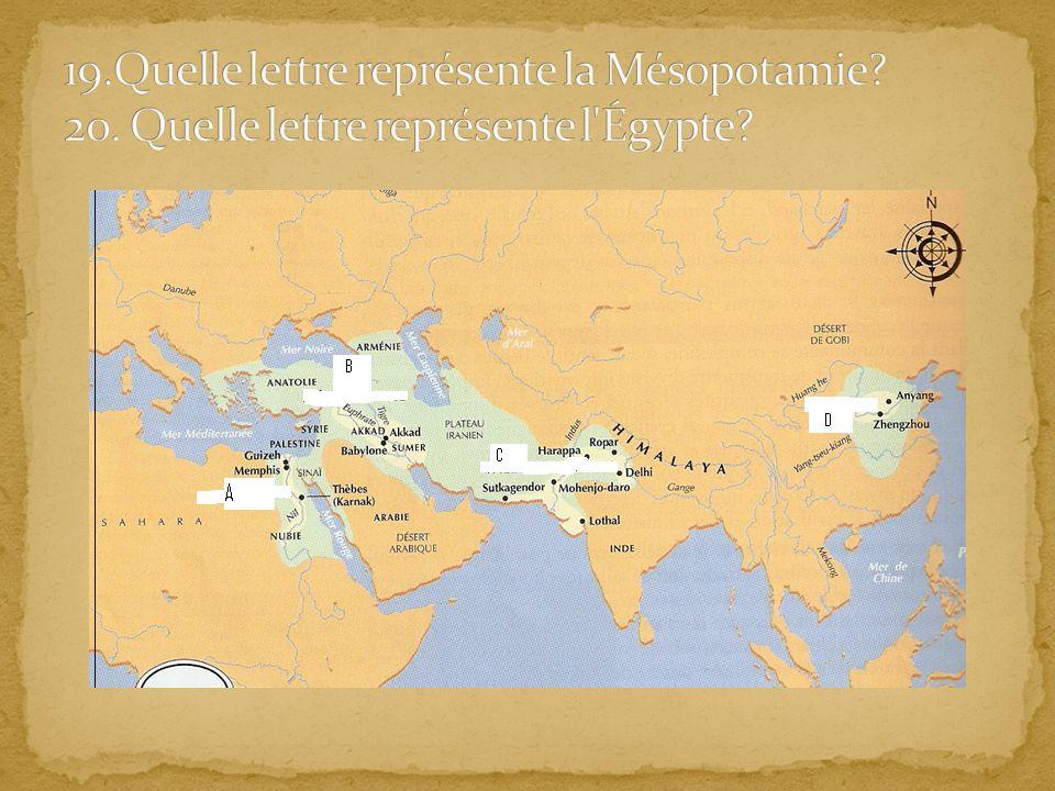 19. Quelle lettre représente la Mésopotamie. 20