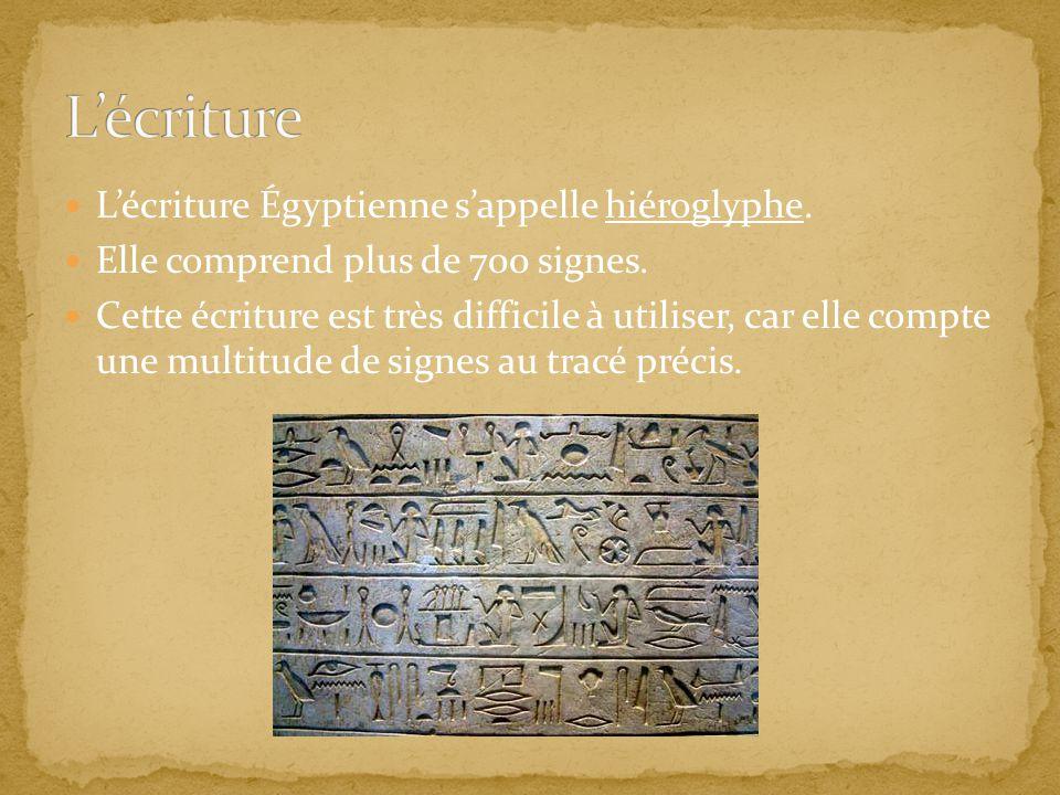 L'écriture L'écriture Égyptienne s'appelle hiéroglyphe.