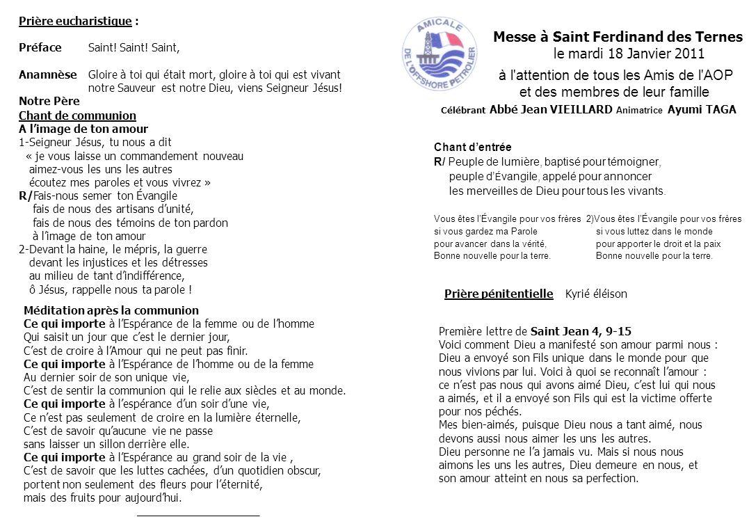 Messe à Saint Ferdinand des Ternes le mardi 18 Janvier 2011