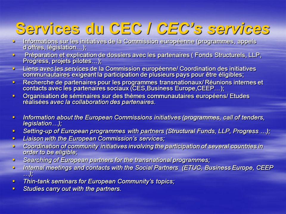 Services du CEC / CEC's services