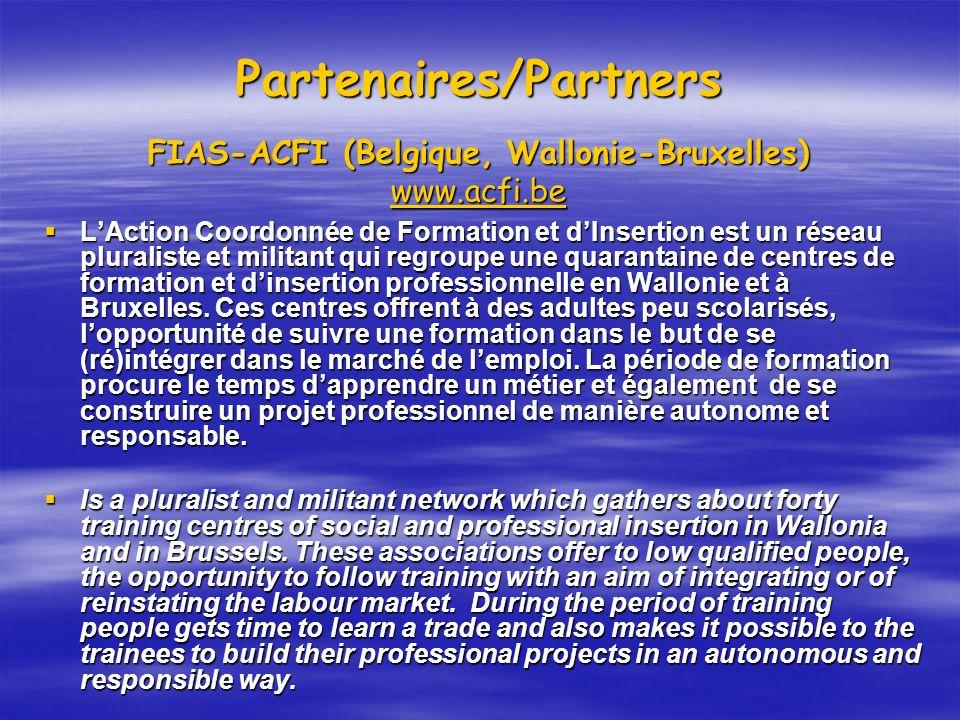 Partenaires/Partners FIAS-ACFI (Belgique, Wallonie-Bruxelles) www.acfi.be
