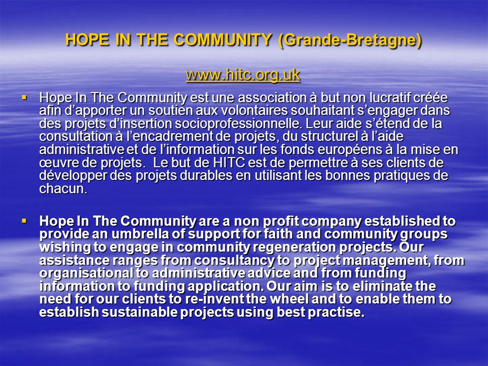 HOPE IN THE COMMUNITY (Grande-Bretagne) Www.hitc.org.uk