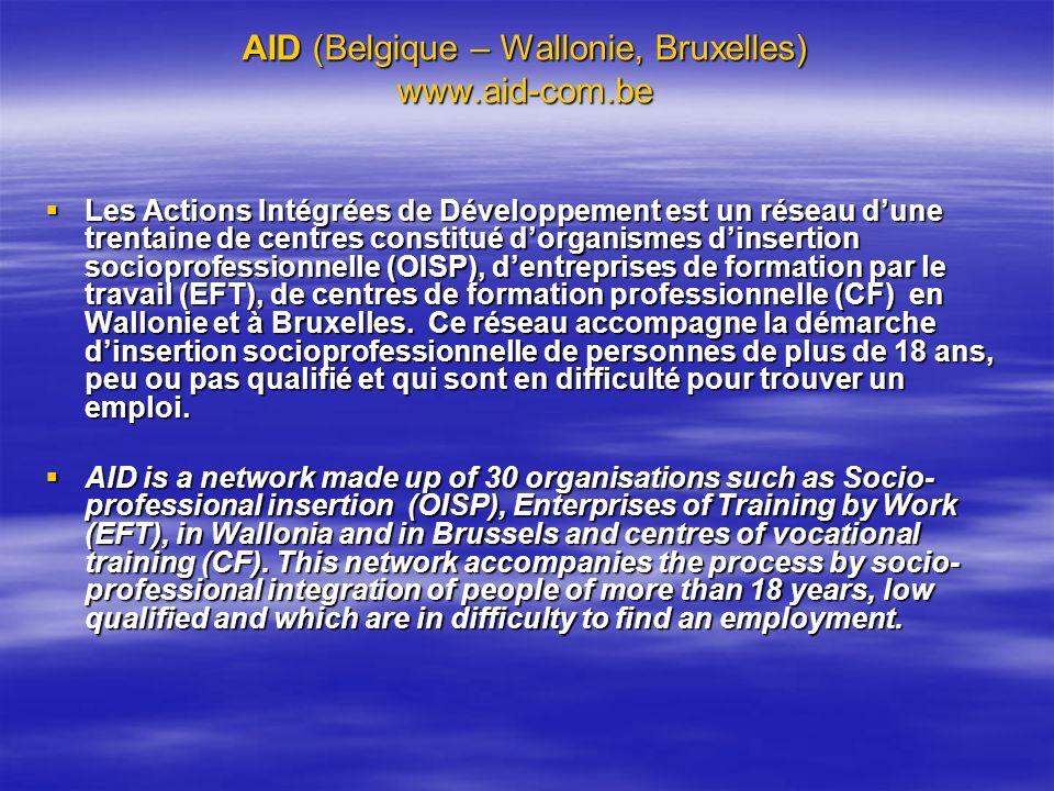 AID (Belgique – Wallonie, Bruxelles) www.aid-com.be