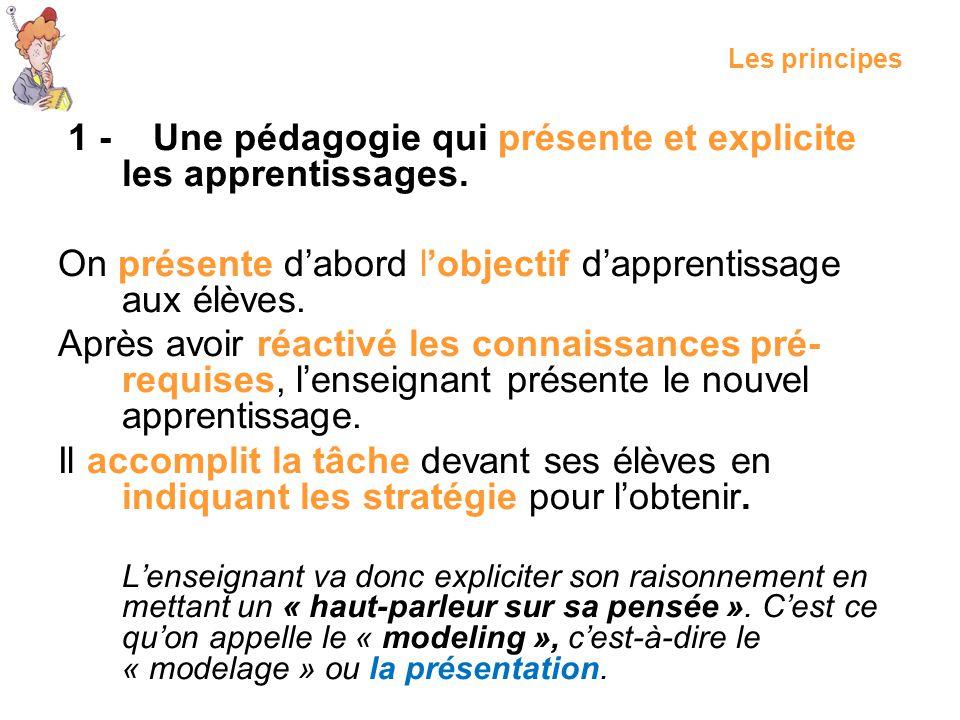 1 - Une pédagogie qui présente et explicite les apprentissages.