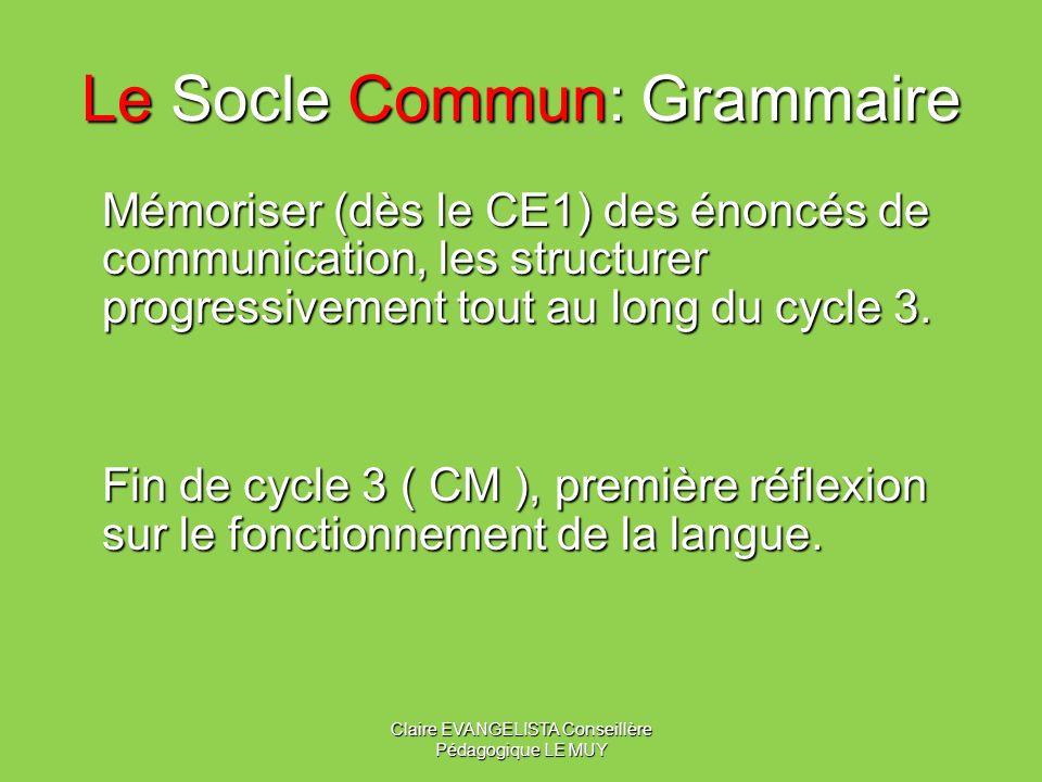 Le Socle Commun: Grammaire