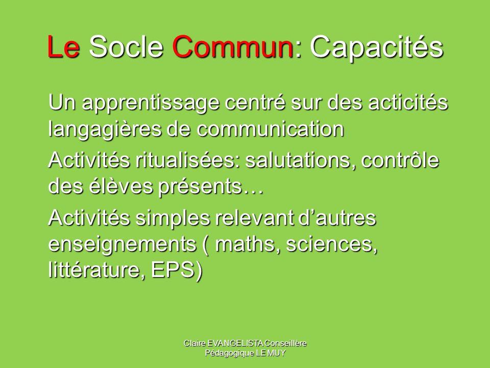 Le Socle Commun: Capacités
