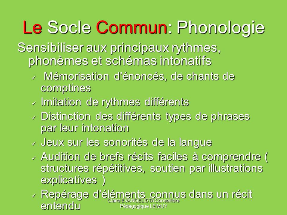 Le Socle Commun: Phonologie