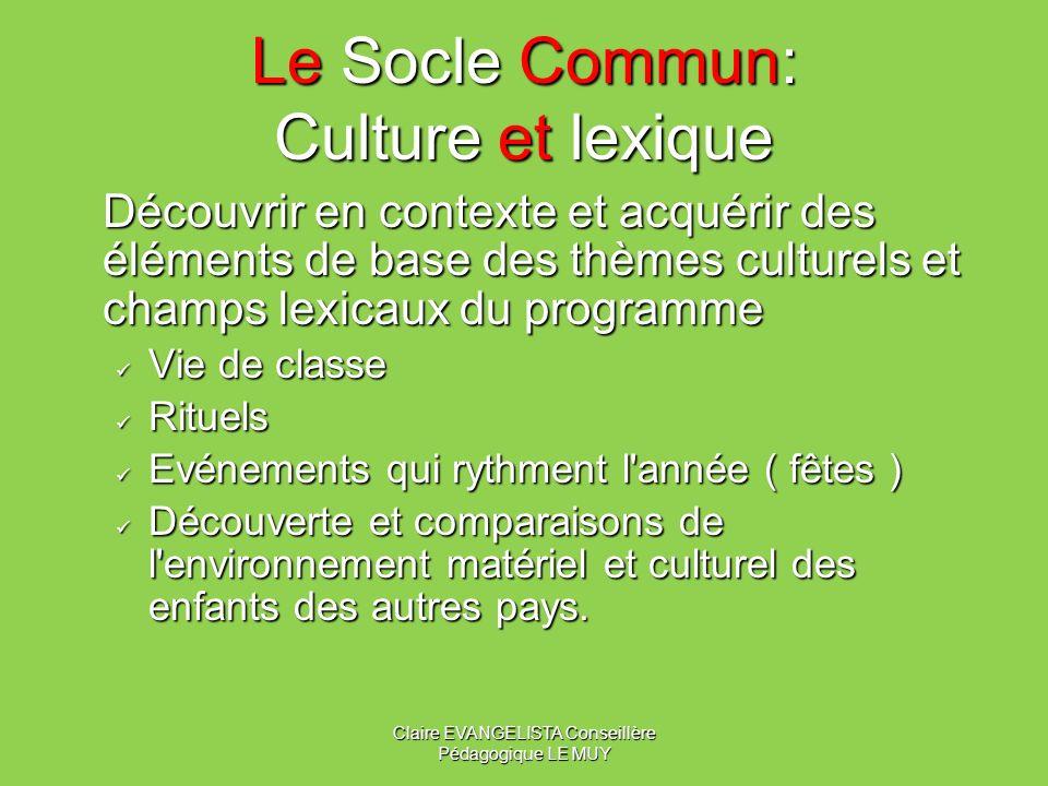 Le Socle Commun: Culture et lexique