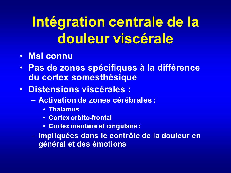 Intégration centrale de la douleur viscérale