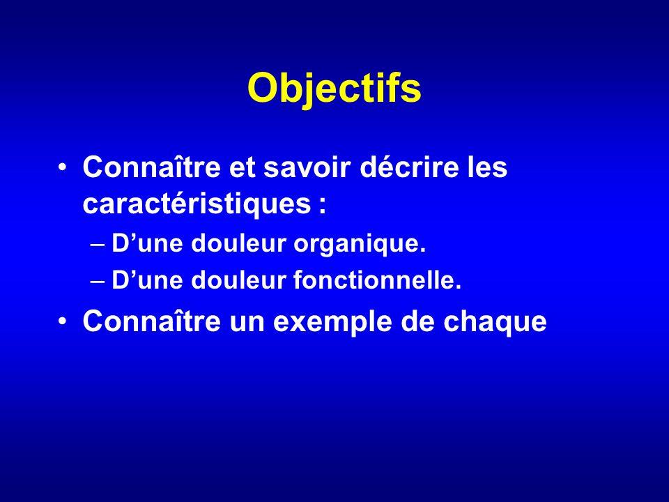 Objectifs Connaître et savoir décrire les caractéristiques :