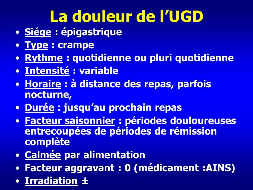 La douleur de l'UGD Siége : épigastrique Type : crampe