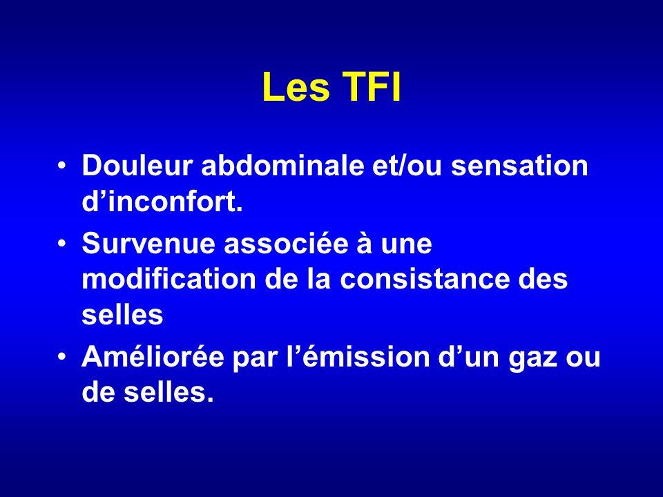 Les TFI Douleur abdominale et/ou sensation d'inconfort.