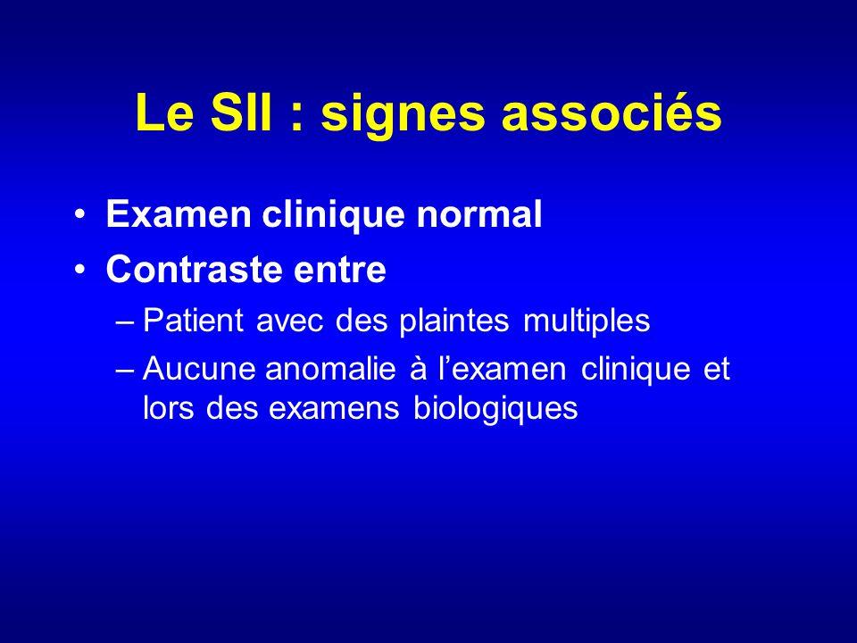 Le SII : signes associés