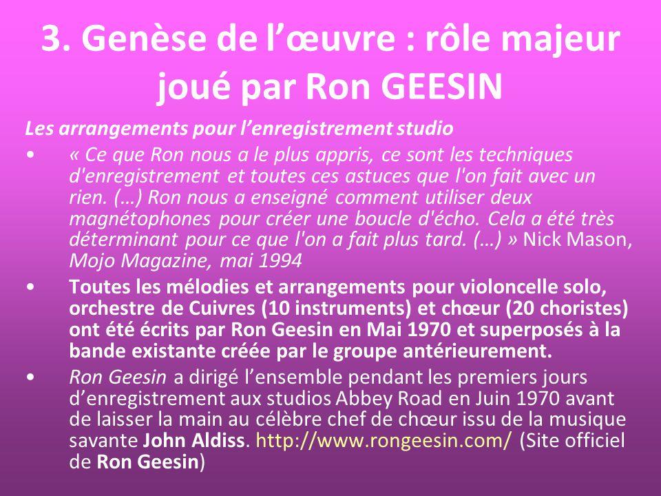 3. Genèse de l'œuvre : rôle majeur joué par Ron GEESIN