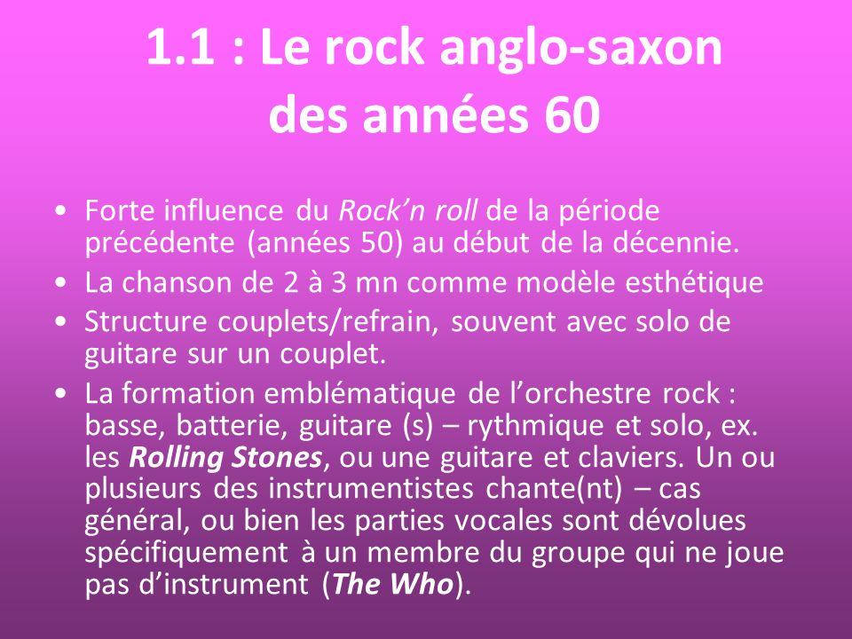 1.1 : Le rock anglo-saxon des années 60