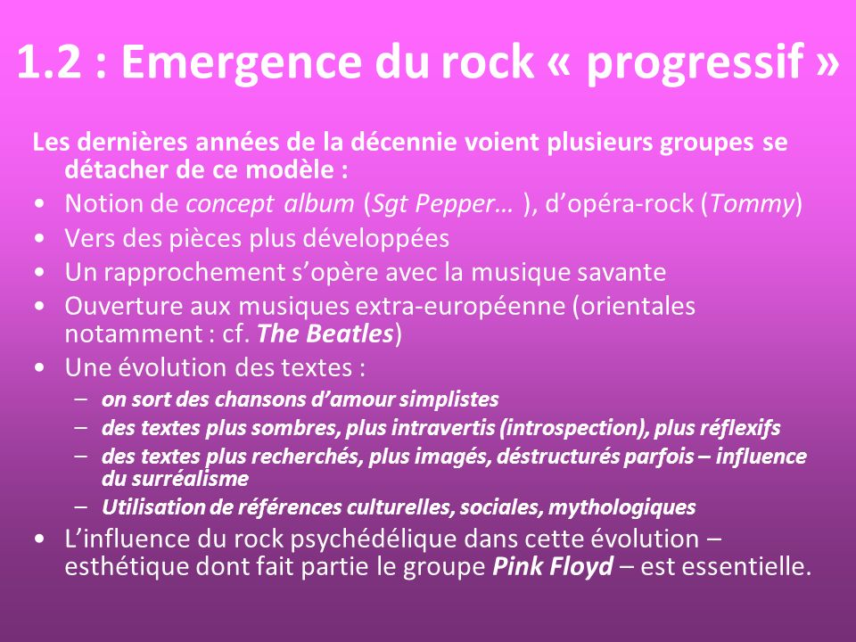 1.2 : Emergence du rock « progressif »