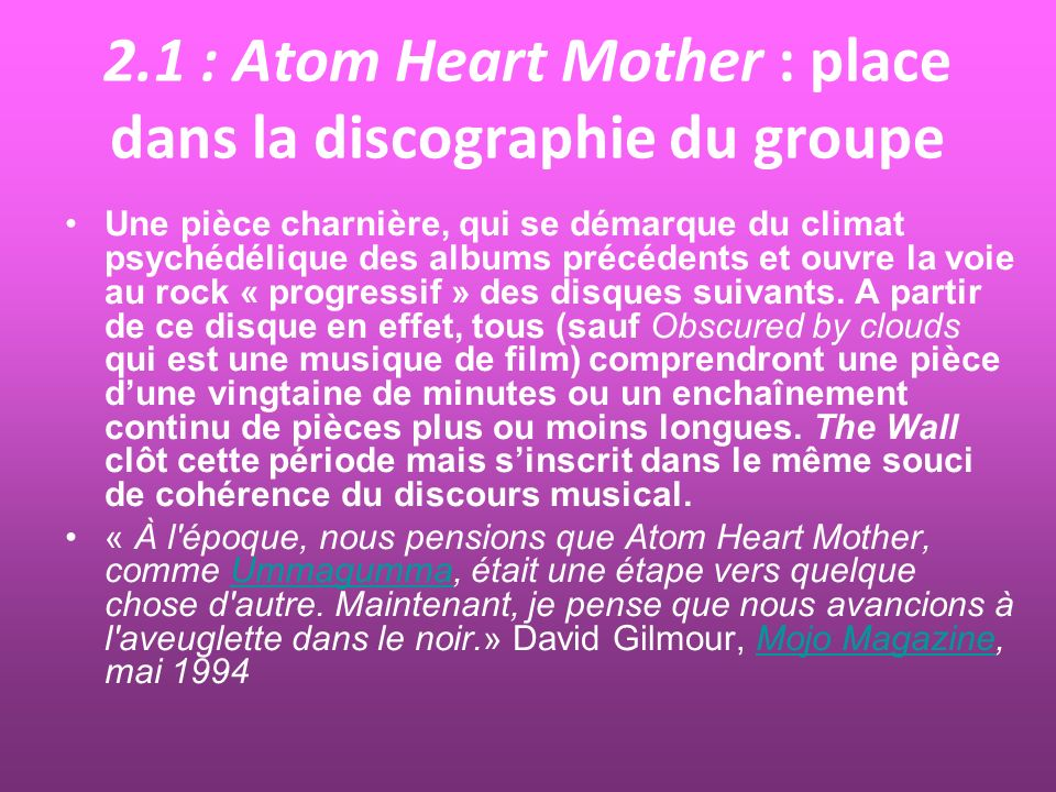 2.1 : Atom Heart Mother : place dans la discographie du groupe