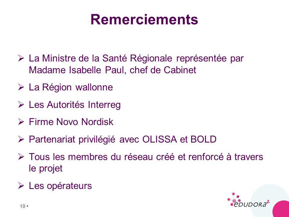 Remerciements La Ministre de la Santé Régionale représentée par Madame Isabelle Paul, chef de Cabinet.