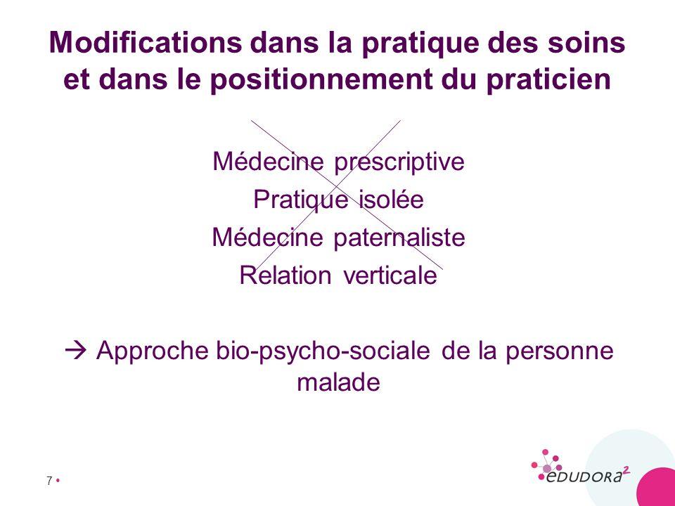 Modifications dans la pratique des soins et dans le positionnement du praticien