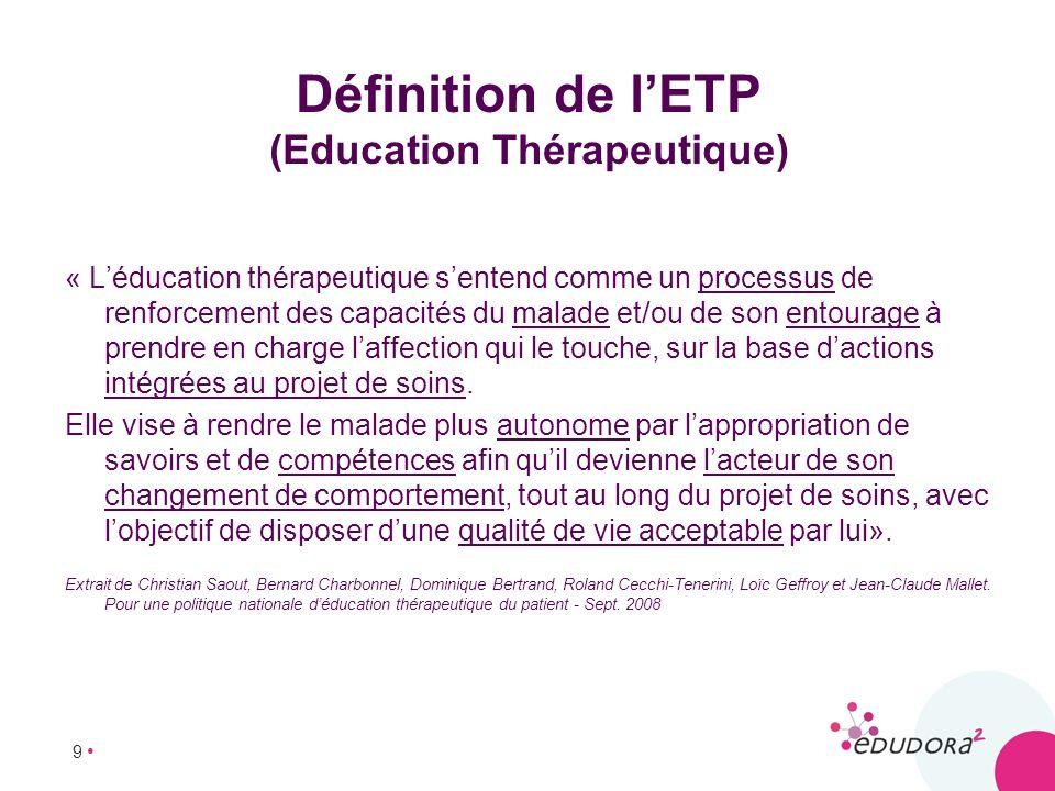 Définition de l'ETP (Education Thérapeutique)