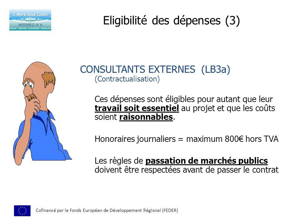 Eligibilité des dépenses (3)