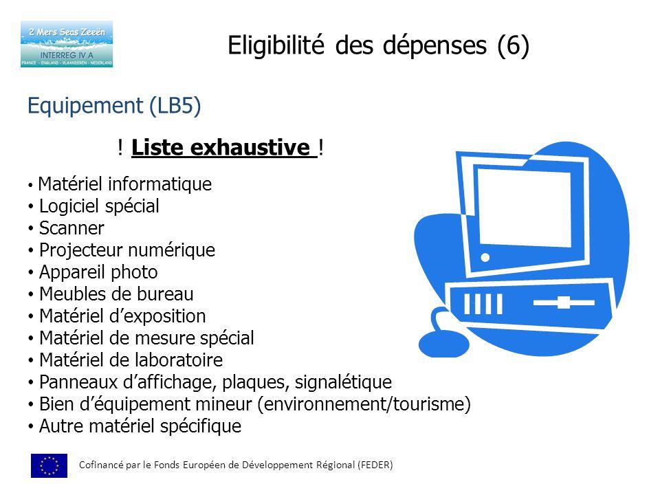 Eligibilité des dépenses (6)