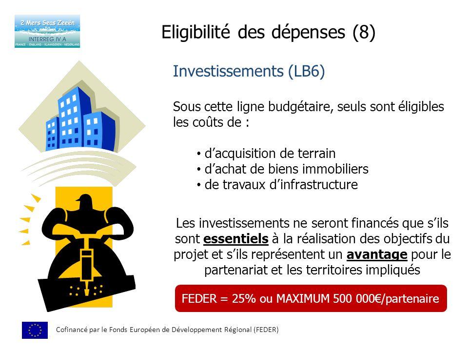 Eligibilité des dépenses (8)