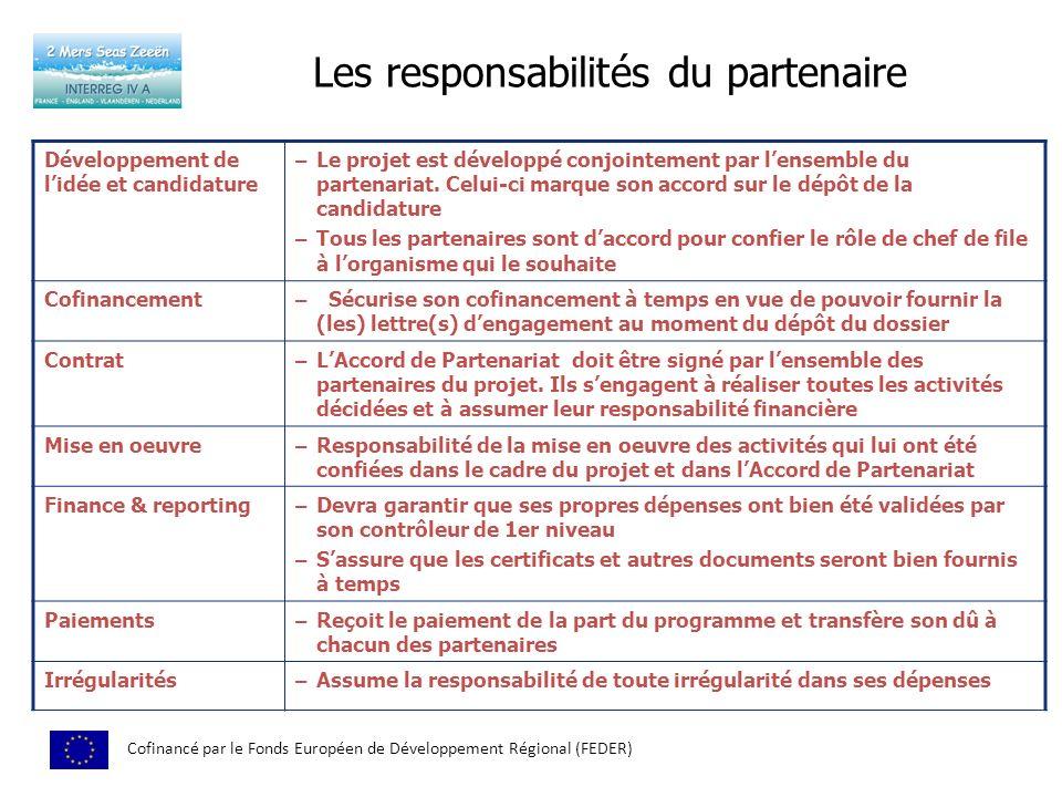 Les responsabilités du partenaire