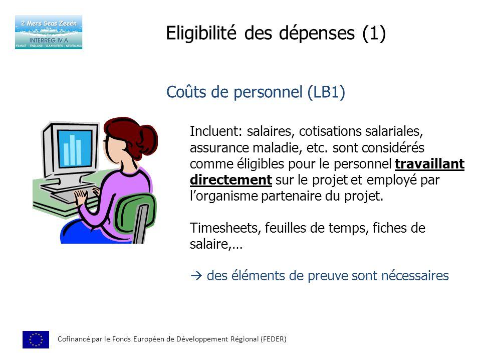 Eligibilité des dépenses (1)