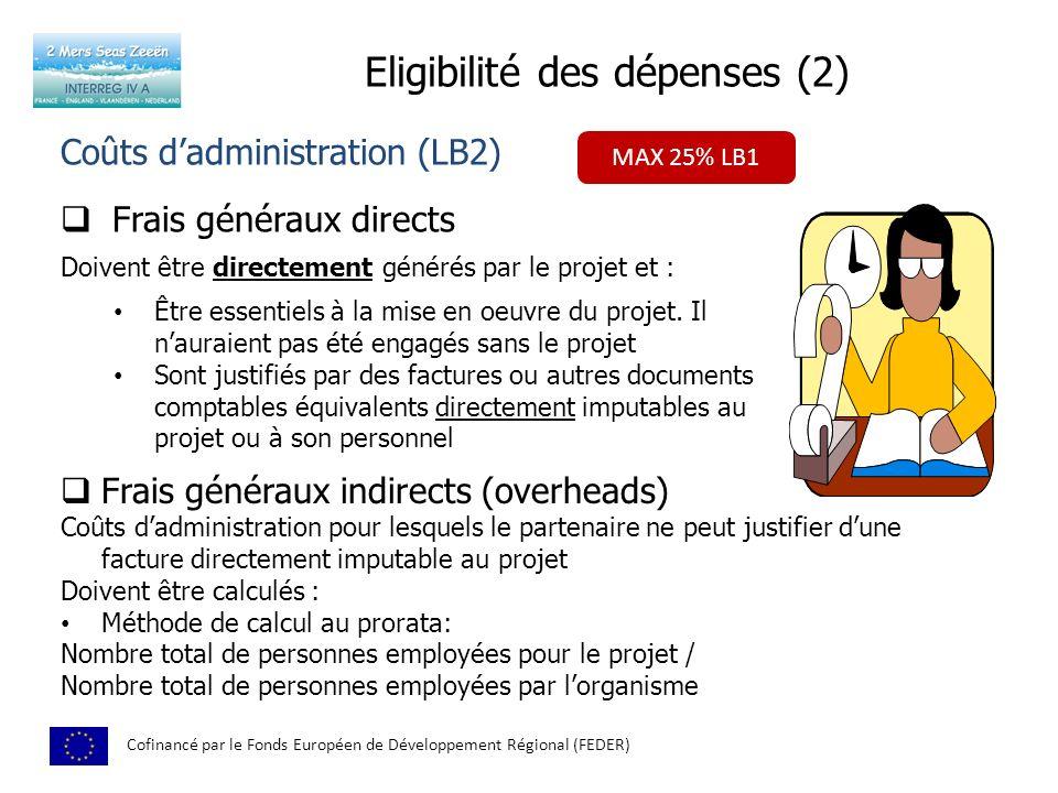 Eligibilité des dépenses (2)