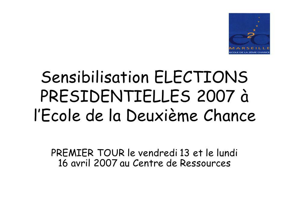 Sensibilisation ELECTIONS PRESIDENTIELLES 2007 à l'Ecole de la Deuxième Chance