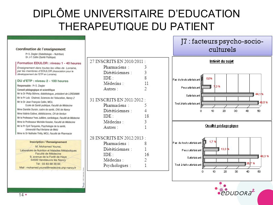 DIPLÔME UNIVERSITAIRE D'EDUCATION THERAPEUTIQUE DU PATIENT