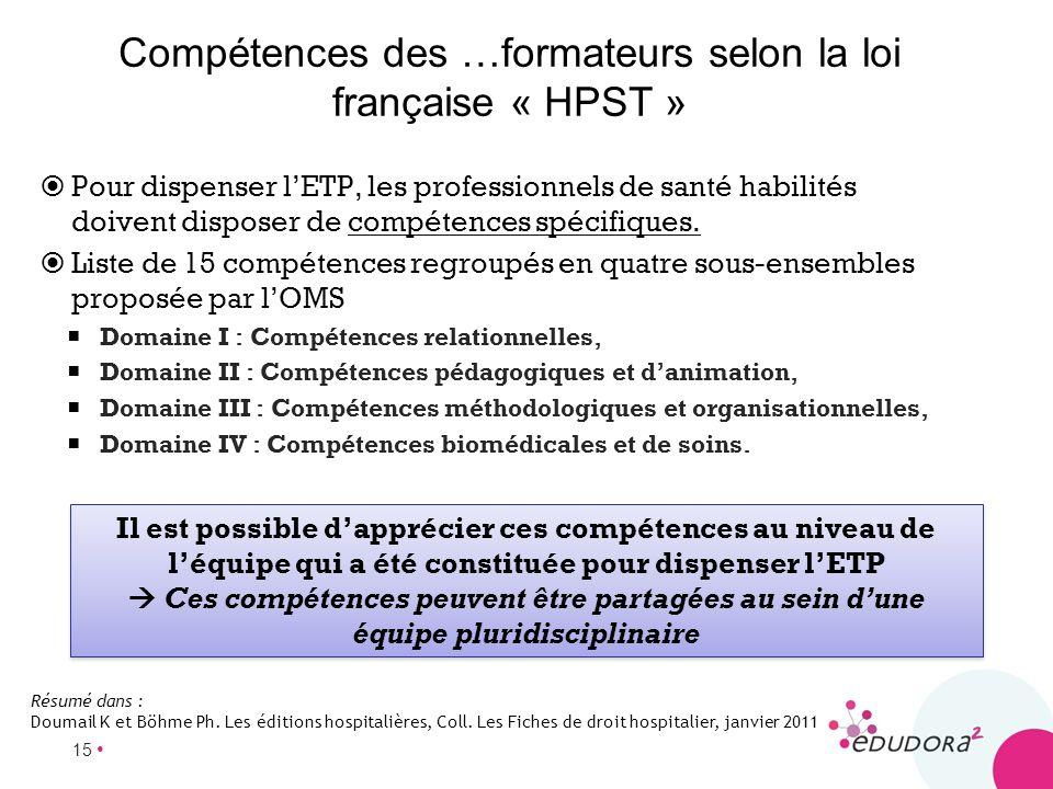 Compétences des …formateurs selon la loi française « HPST »