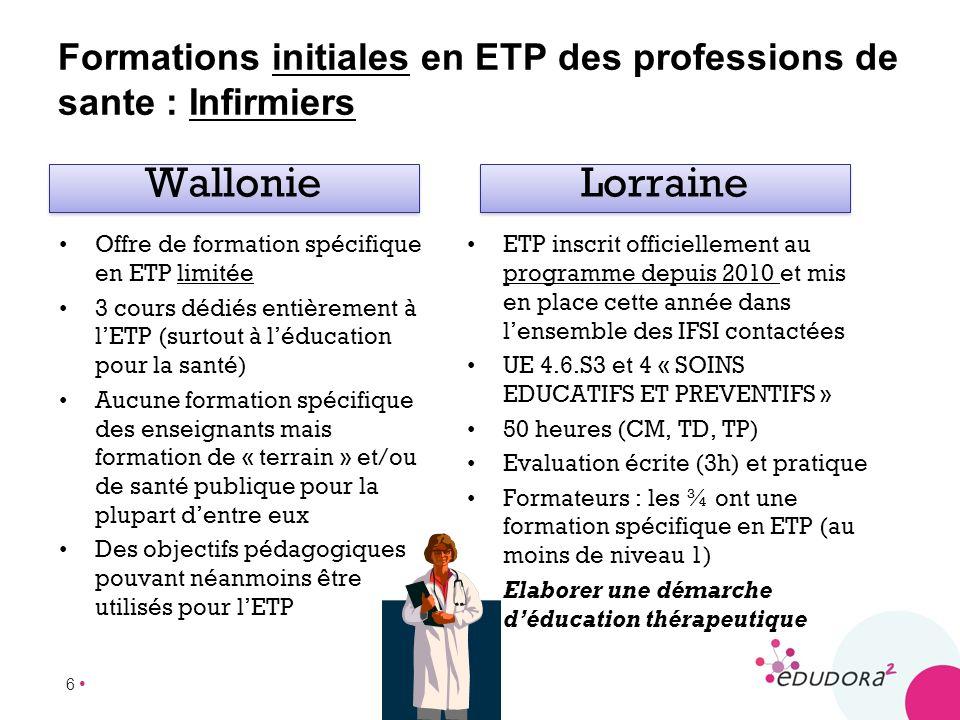 Formations initiales en ETP des professions de sante : Infirmiers
