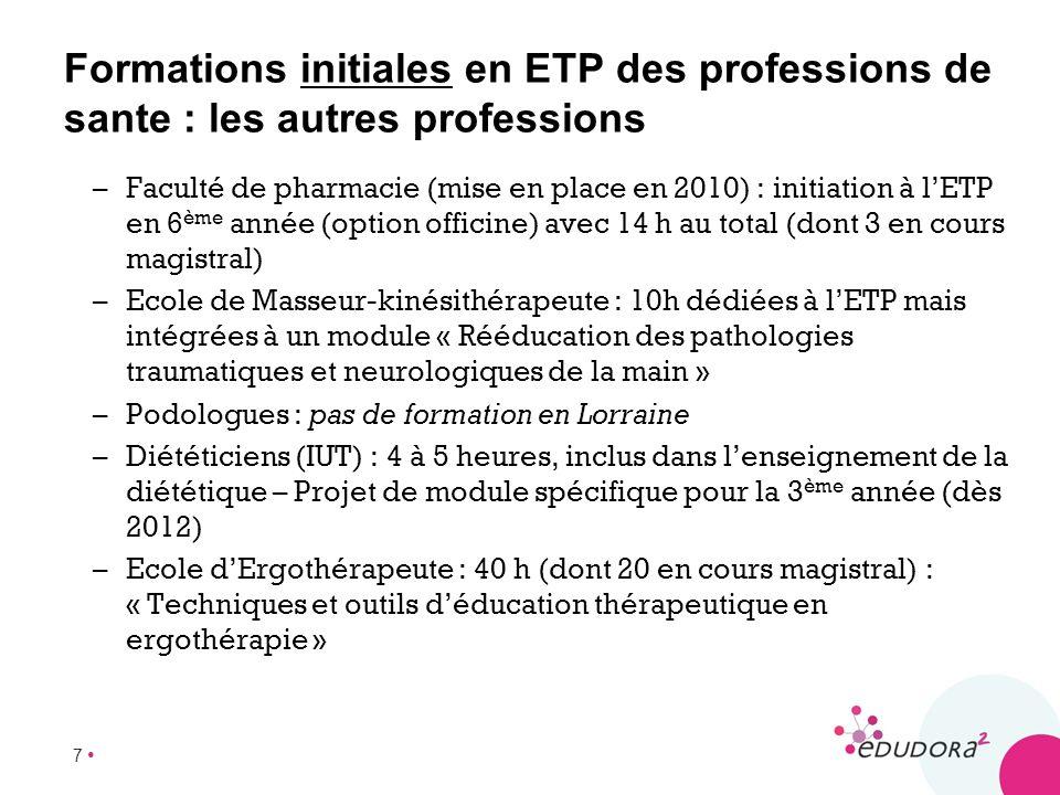 Formations initiales en ETP des professions de sante : les autres professions