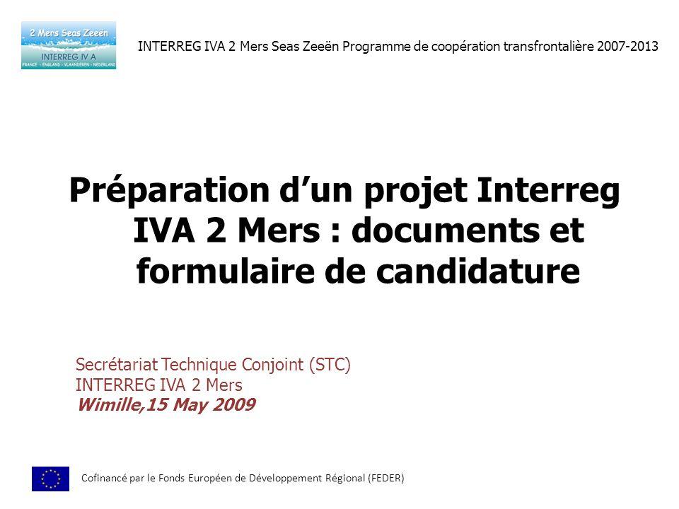 INTERREG IVA 2 Mers Seas Zeeën Programme de coopération transfrontalière 2007-2013