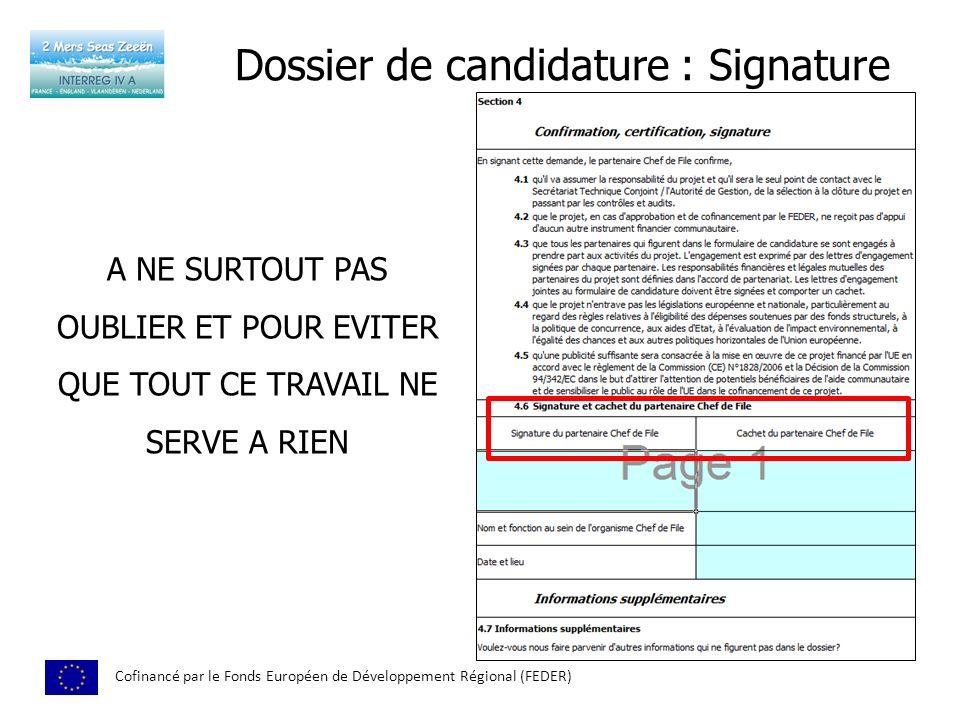 Dossier de candidature : Signature
