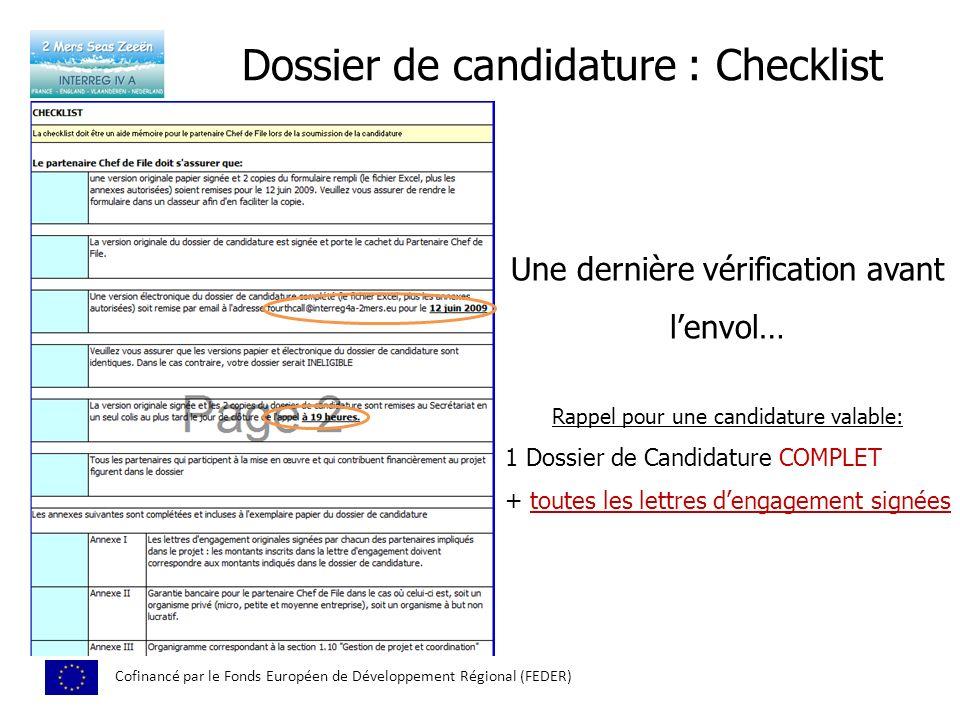 Dossier de candidature : Checklist
