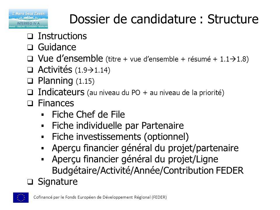 Dossier de candidature : Structure