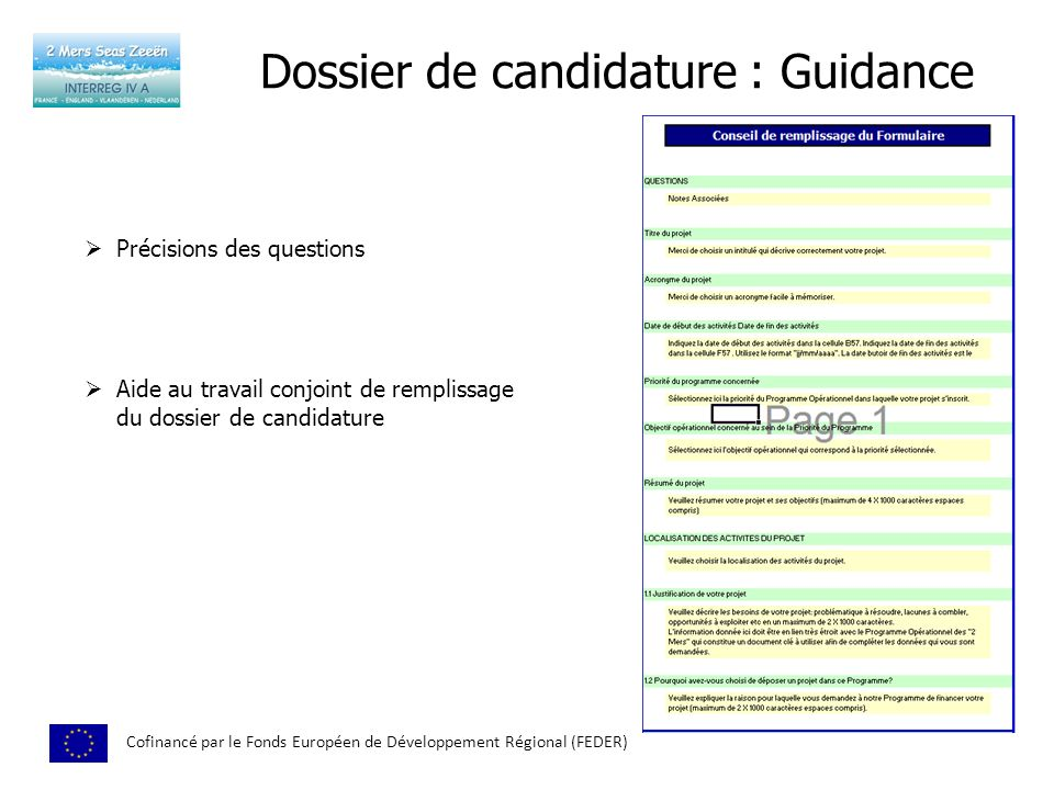 Dossier de candidature : Guidance