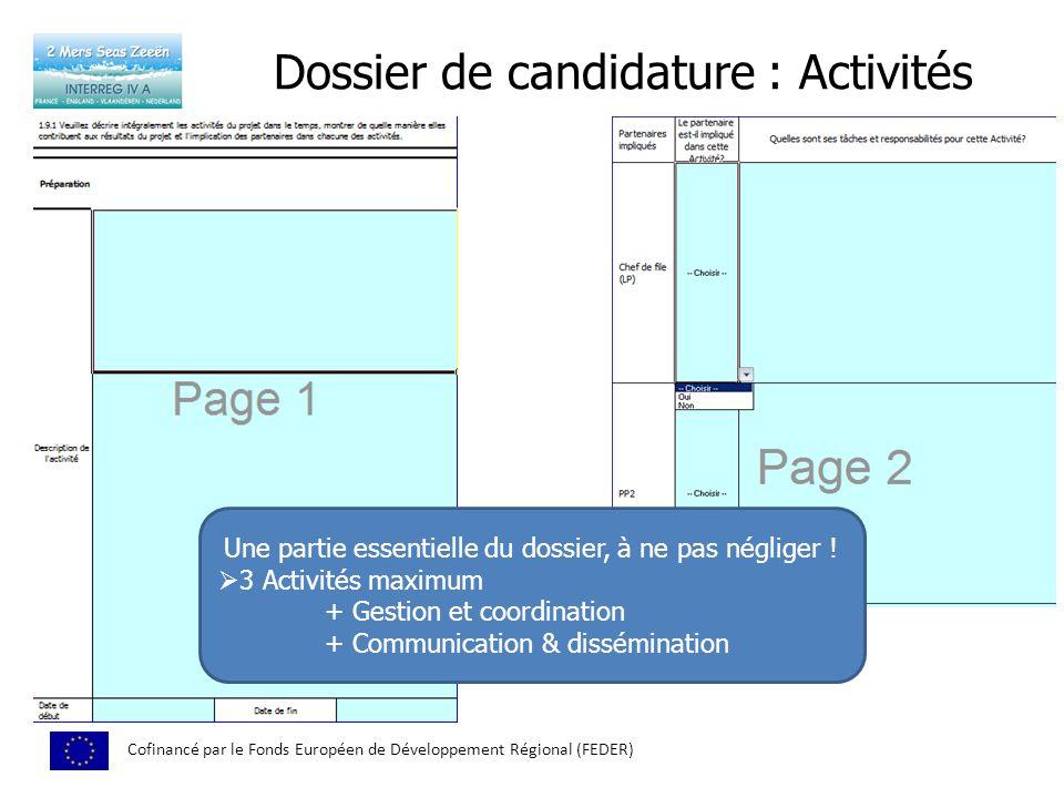 Dossier de candidature : Activités