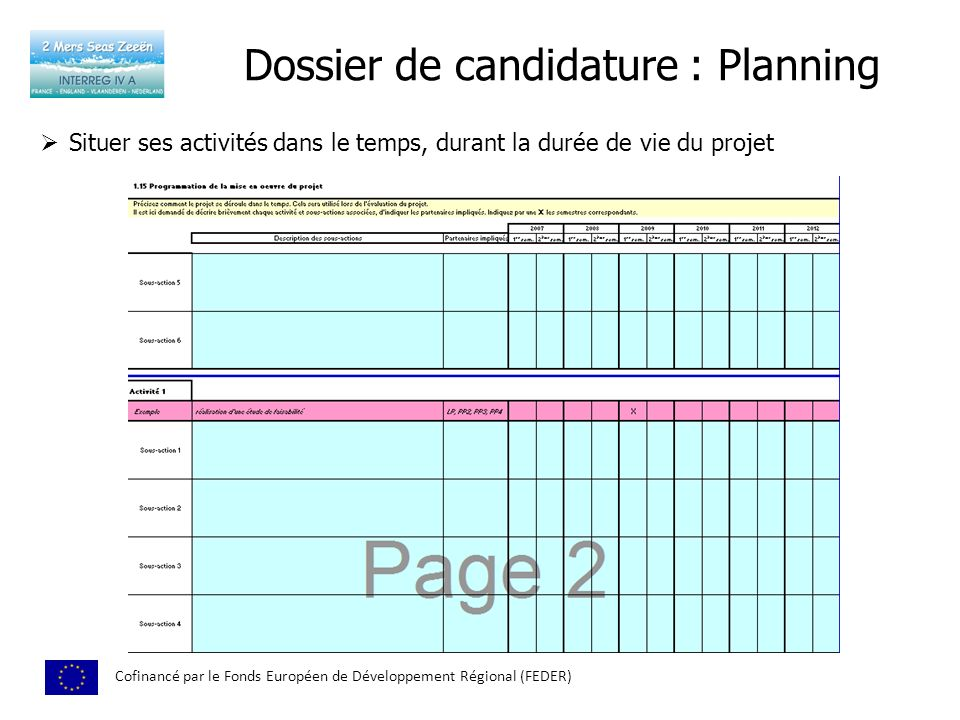 Dossier de candidature : Planning