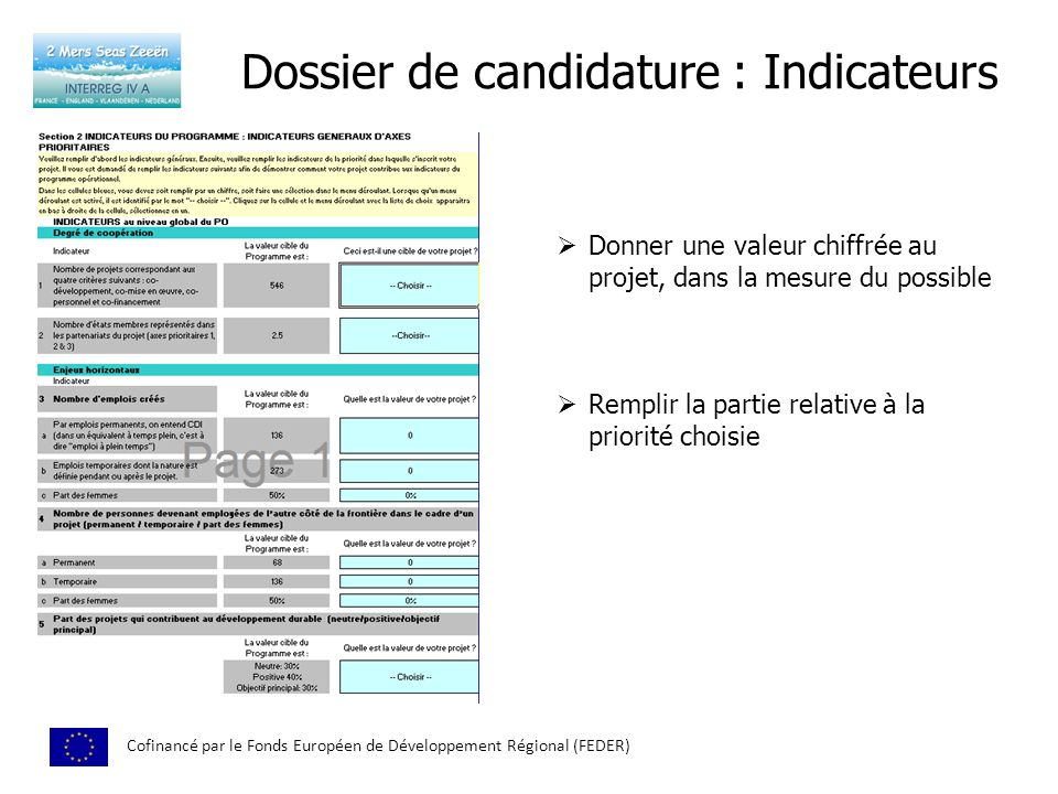 Dossier de candidature : Indicateurs