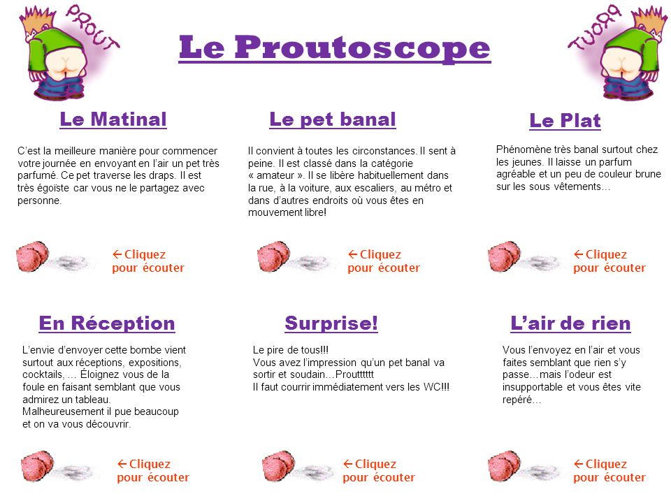 Le Proutoscope Le Matinal Le pet banal Le Plat En Réception Surprise!