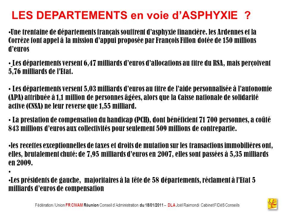 LES DEPARTEMENTS en voie d'ASPHYXIE