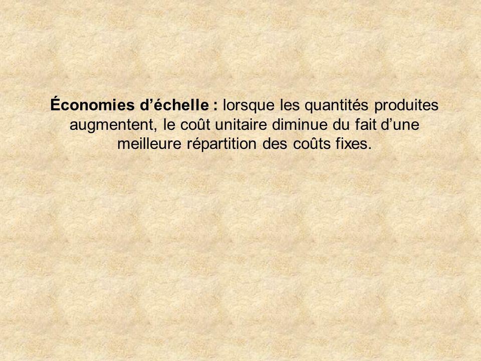 Économies d'échelle : lorsque les quantités produites augmentent, le coût unitaire diminue du fait d'une meilleure répartition des coûts fixes.