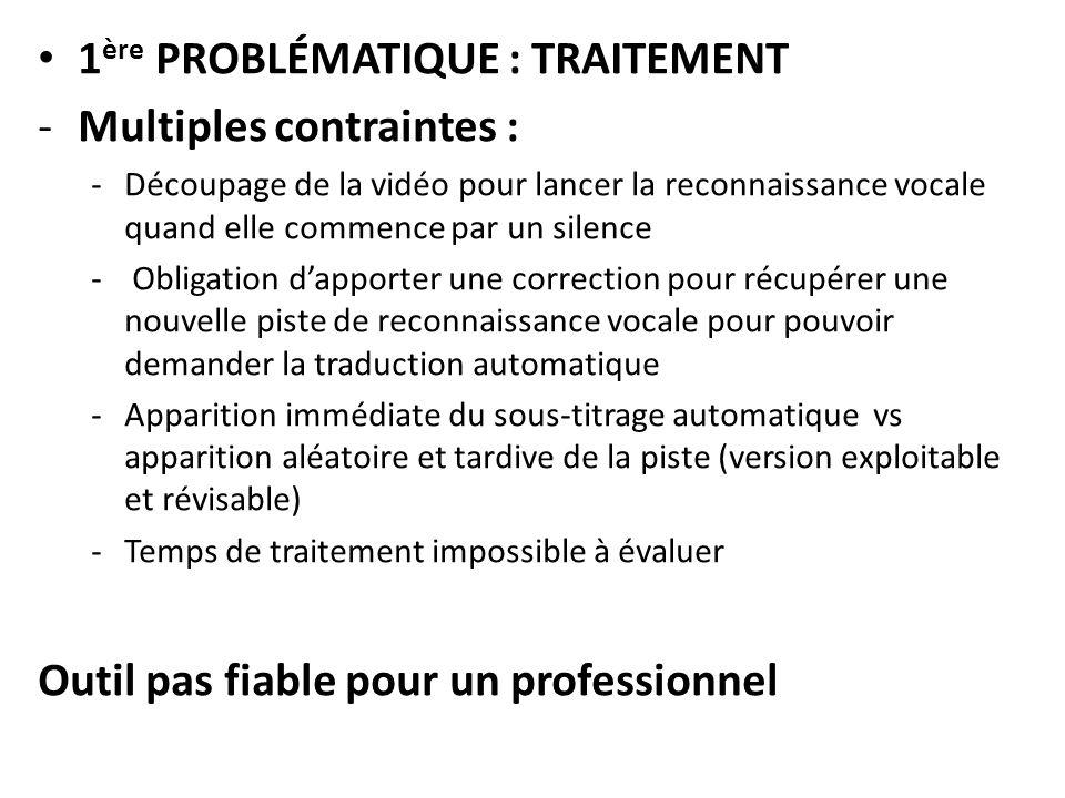 1ère PROBLÉMATIQUE : TRAITEMENT Multiples contraintes :