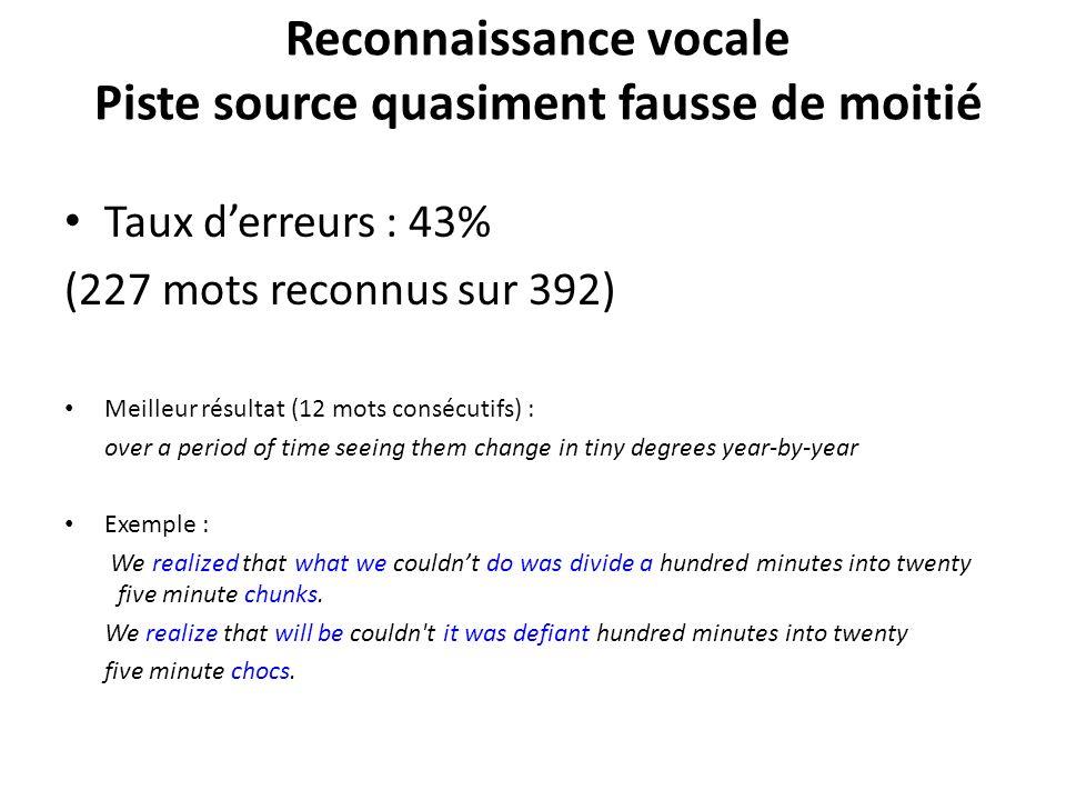 Reconnaissance vocale Piste source quasiment fausse de moitié