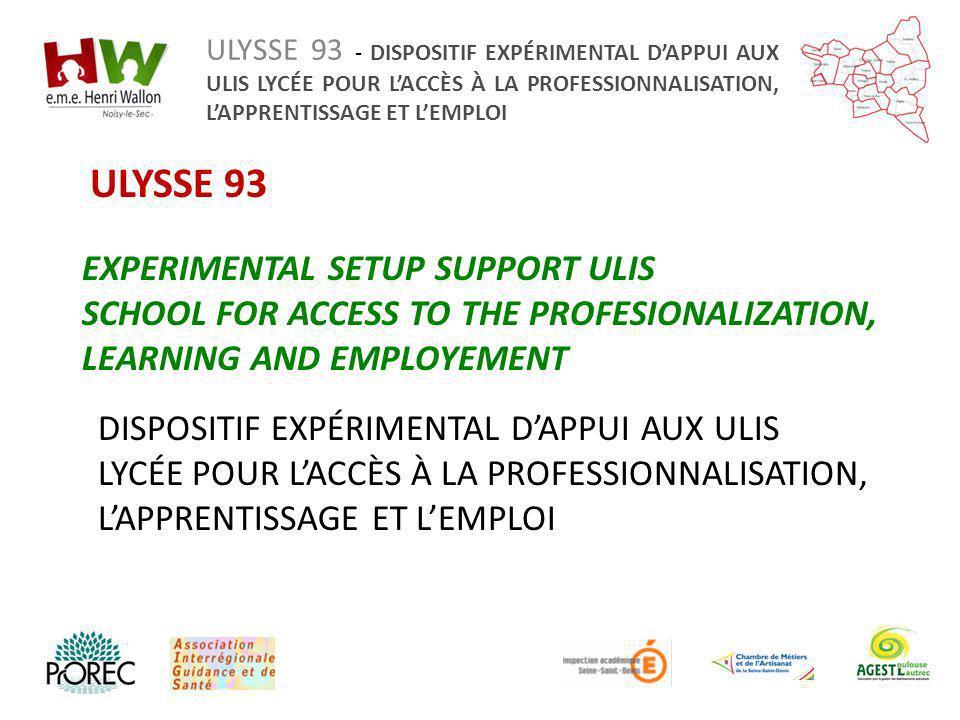 ULYSSE 93 EXPERIMENTAL SETUP SUPPORT ULIS